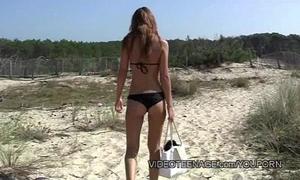 Chap-fallen legal age teenager nudist readily obtainable seashore