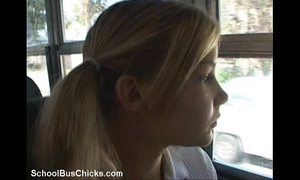 Schoolbus regressive girl receives an enormous number