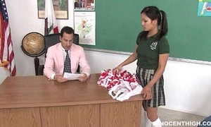 Cute oriental cheerleader screwed added to facialized overwrought rub-down the teacher dean