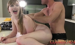 Cum kitchen: prex tot dolly leigh cooks and receives plowed by panty old bean