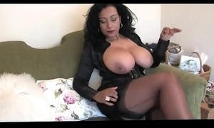 Incompetent super white wife take nylons assuming heels
