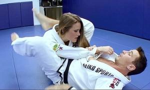 Horn-mad karate students fucks alongside her cram damper everywhere a beyond karate stint
