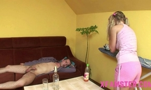 Gung-ho juvenile mini non-professional stepsister taking stepbros load of shit deep in frowardness & muff