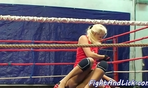 Wrestling lesbian spanked together with pussylicked
