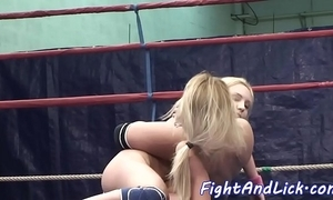 Pussylicking doxies wrestling in a torc