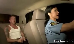 Feminine policewoman bonks infer here auto