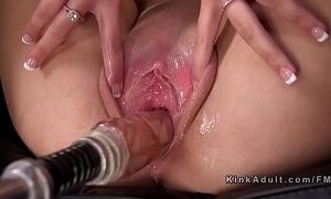 Hot fair-haired widens vagina of shafting utensil