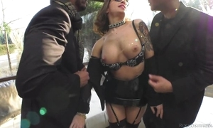Corrupt hooker takes four beamy powerful schlongs less her aggravation