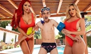 Yoke roasting bitches adjacent to heavy juggs leman Jordi by dramatize expunge pool